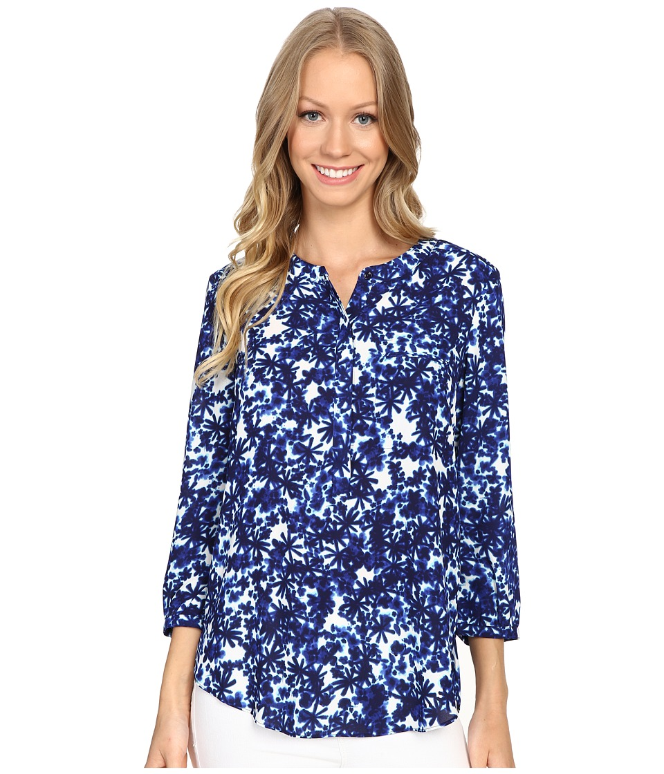 NYDJ - 3/4 Sleeve Pleat Back (Midnight Fern Blue) Women's Blouse