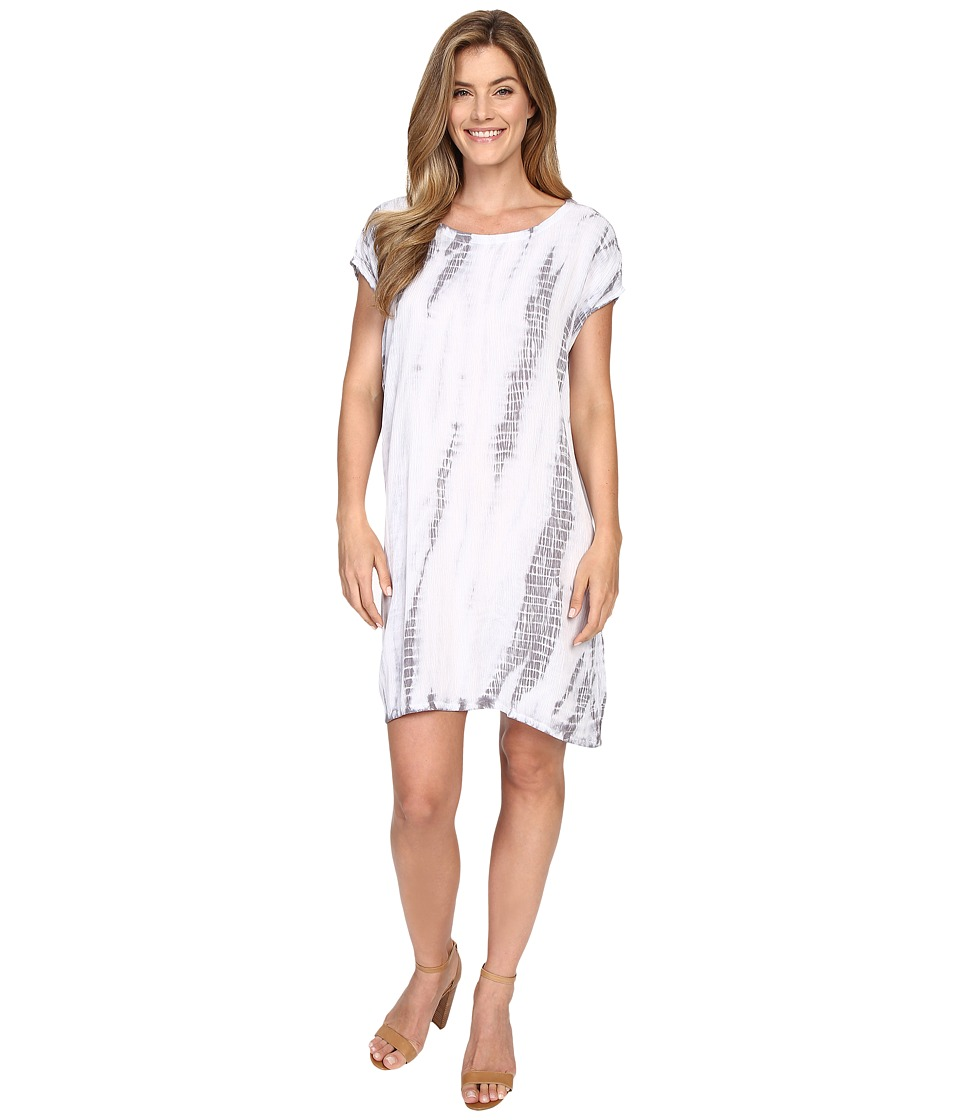 Allen Allen Tie-Dye Short Caftan Dress (Pale Grey) Women