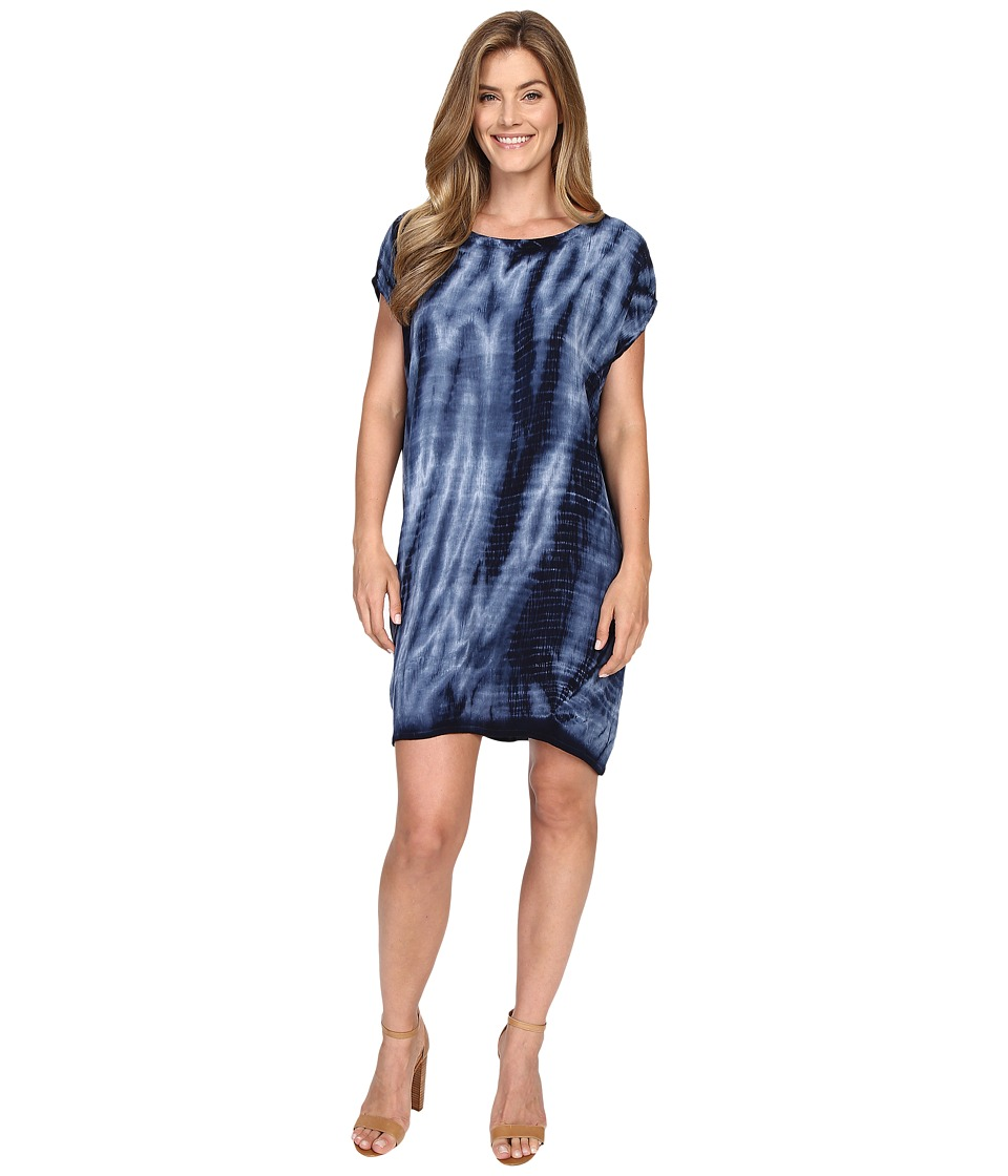Allen Allen Tie-Dye Short Caftan Dress (Lapis) Women