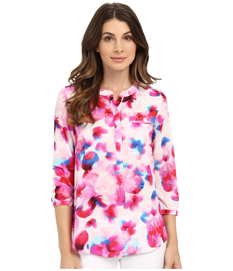 NYDJ - 3/4 Sleeve Pleat Back (Marseille Floral Neon Pop) Women's Blouse