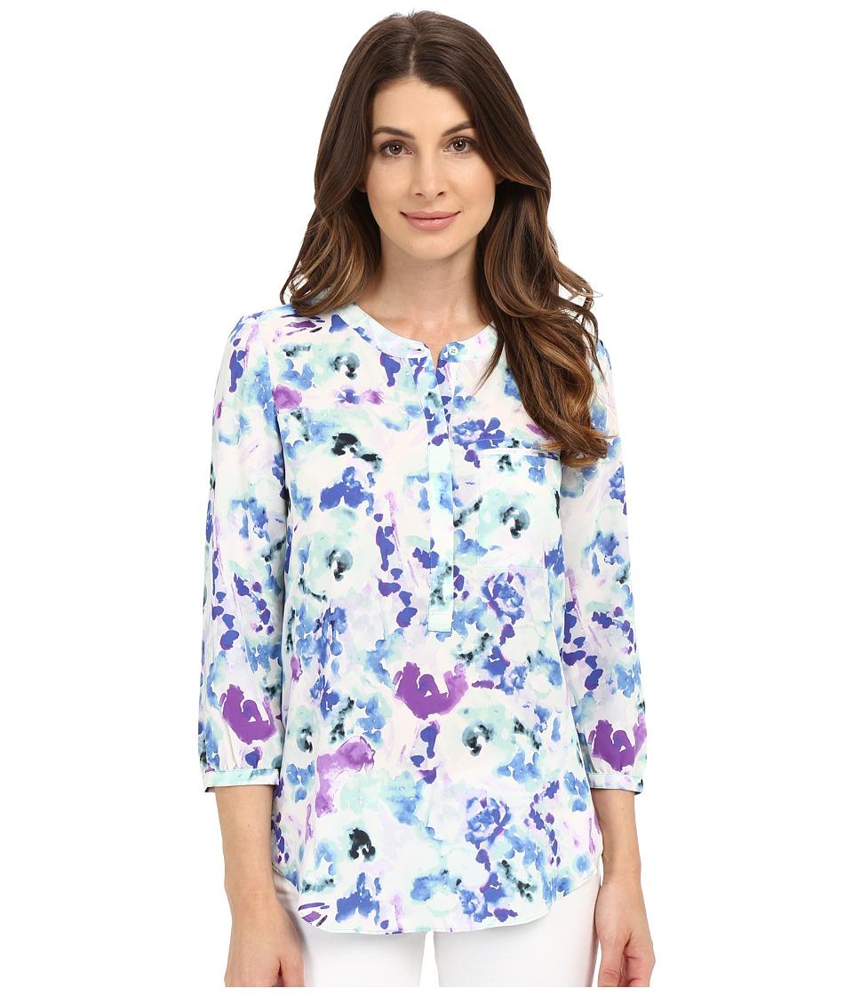 NYDJ - 3/4 Sleeve Pleat Back (Waterfront Lilies Blue) Women's Blouse