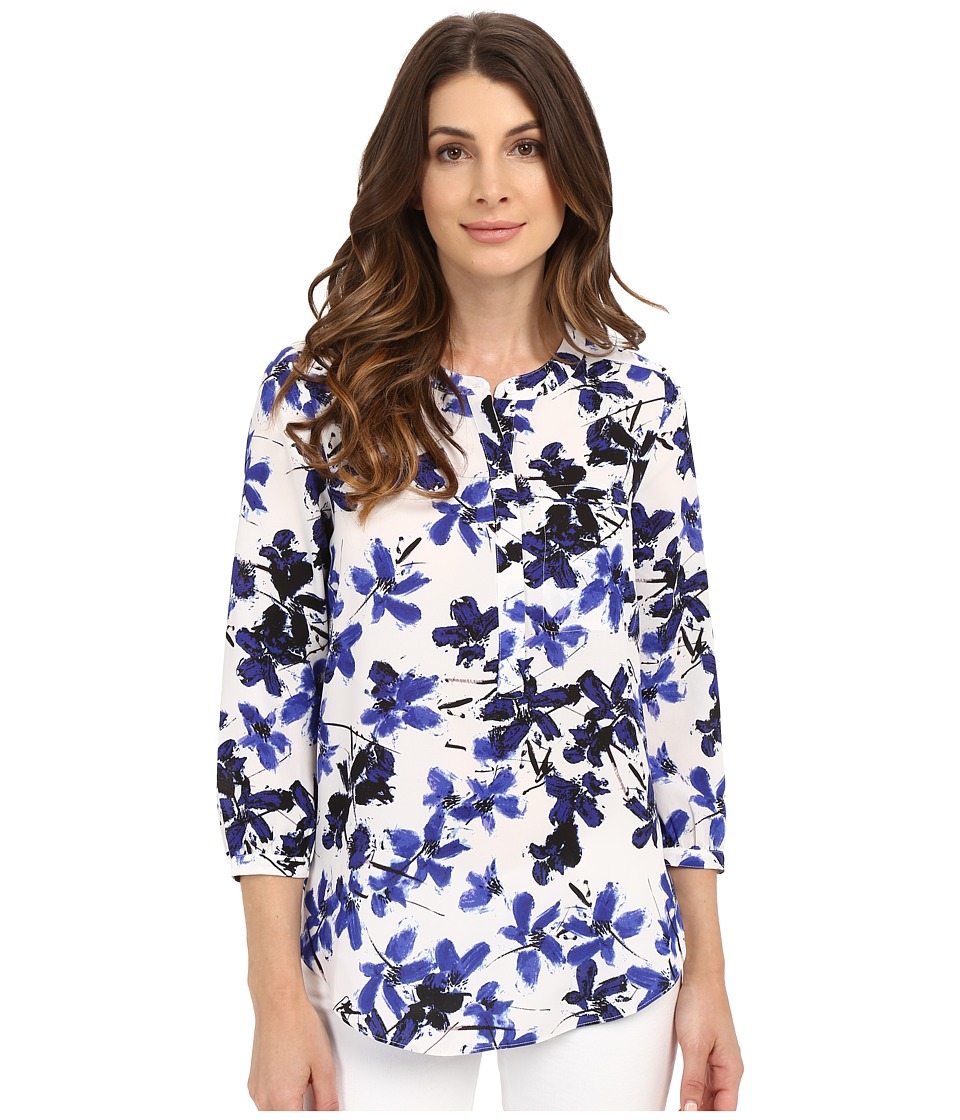NYDJ - 3/4 Sleeve Pleat Back (Miramar Floral Blue) Women's Blouse