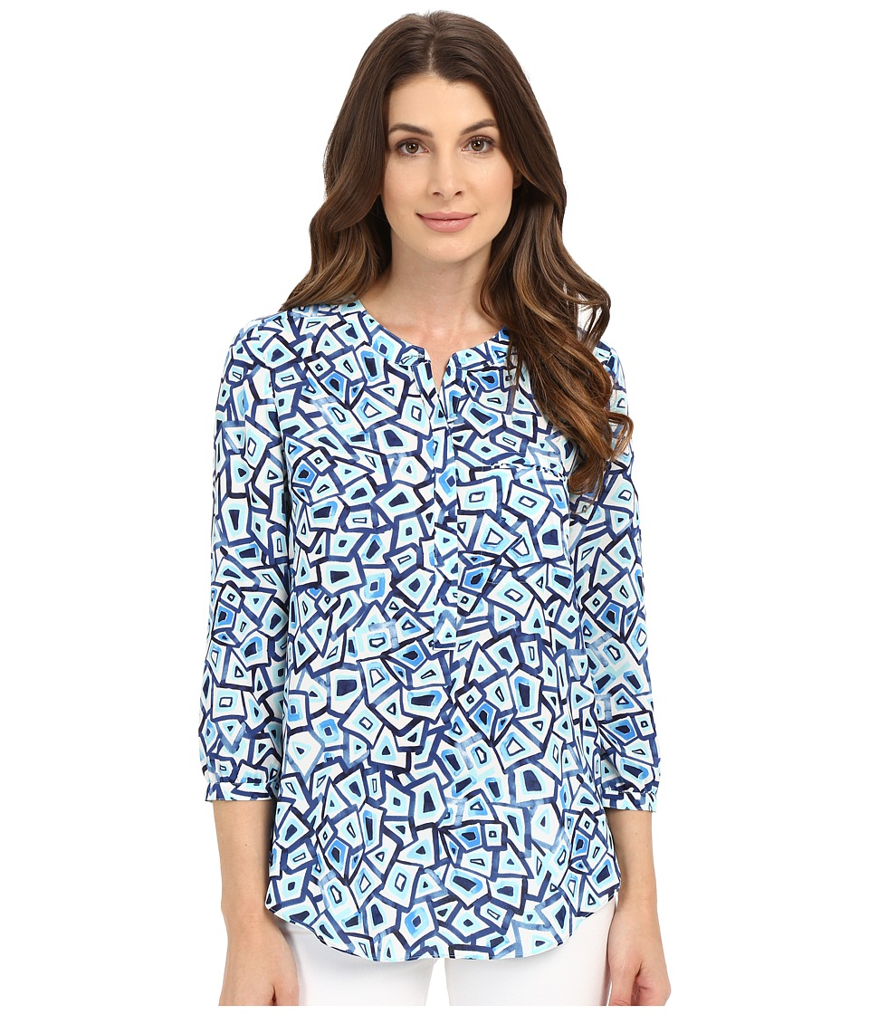 NYDJ - 3/4 Sleeve Pleat Back (Turtle Bay Aqua Salt) Women's Blouse