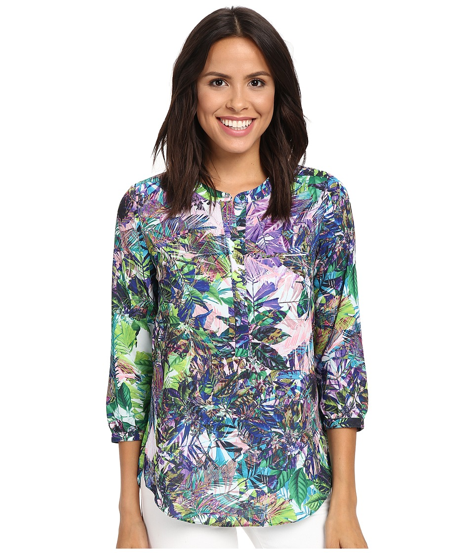 NYDJ - 3/4 Sleeve Pleat Back (Arcadian Jungle Fatigue) Women's Blouse