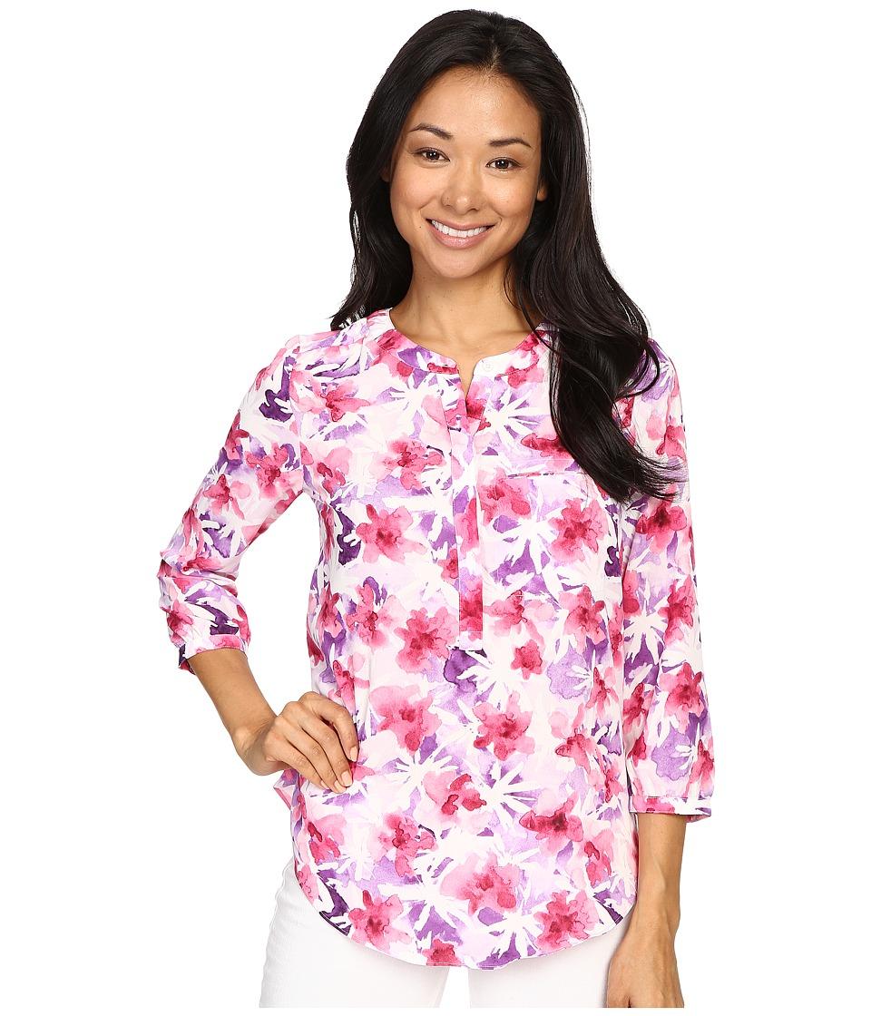 NYDJ - 3/4 Sleeve Pleat Back (Desert Wildflower Purple) Women's Blouse