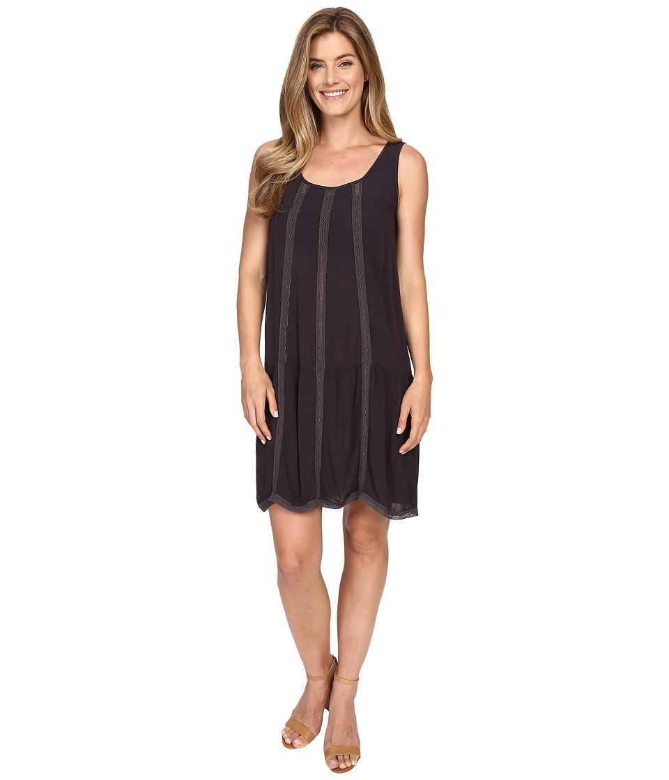 Allen Allen Seamed Tank Dress w/ Lace Trim (Jet Grey) Women