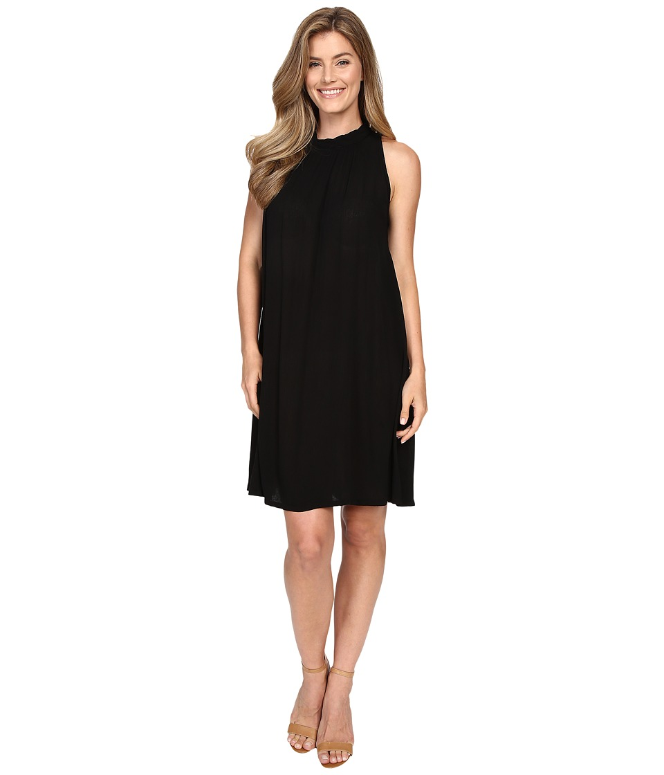 Allen Allen Sleeveless Mock Neck Swing Dress (Black) Women
