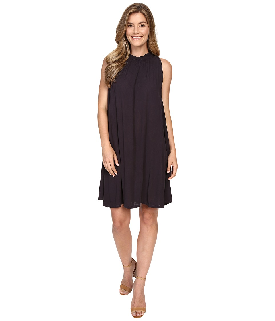 Allen Allen Sleeveless Mock Neck Swing Dress (Jet Grey) Women