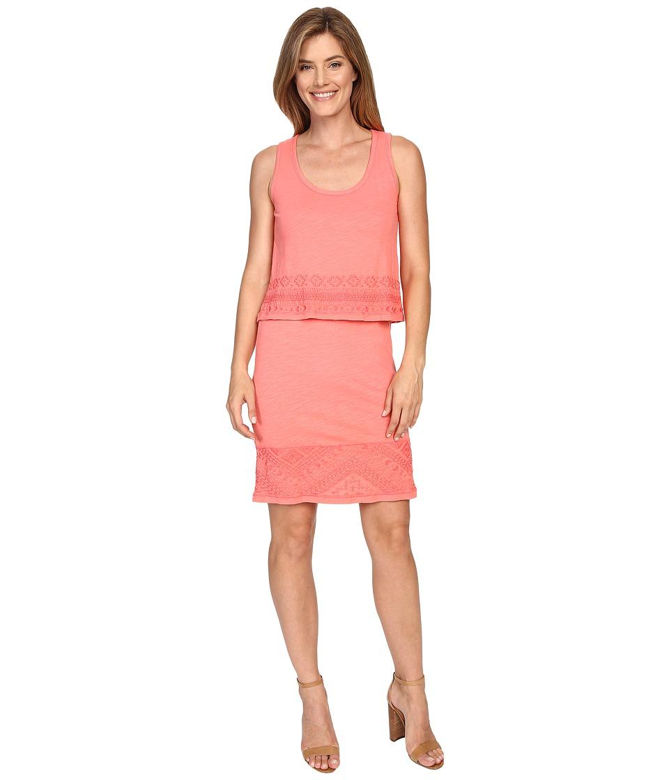 Mod-o-doc Slub Jersey Lace Hem Tank Dress (Cali Coral) Women