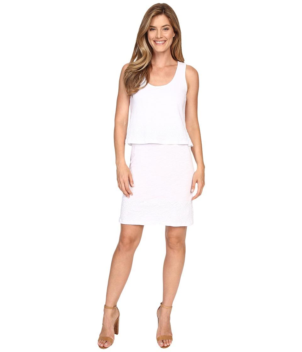Mod-o-doc Slub Jersey Lace Hem Tank Dress (White) Women