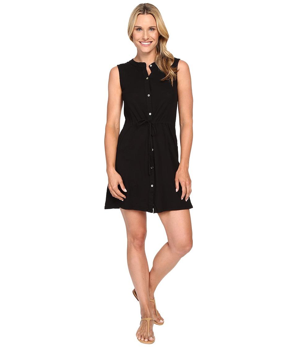 Mod-o-doc Slub Jersey Button Front Tank Dress (Black) Women