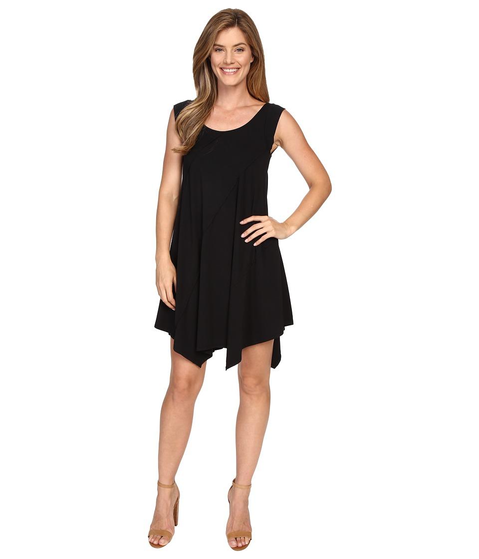 Mod-o-doc Cotton Modal Spandex Asymmetrical Seam Dress (Black) Women