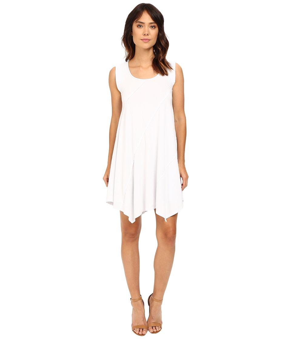 Mod-o-doc Cotton Modal Spandex Asymmetrical Seam Dress (White) Women