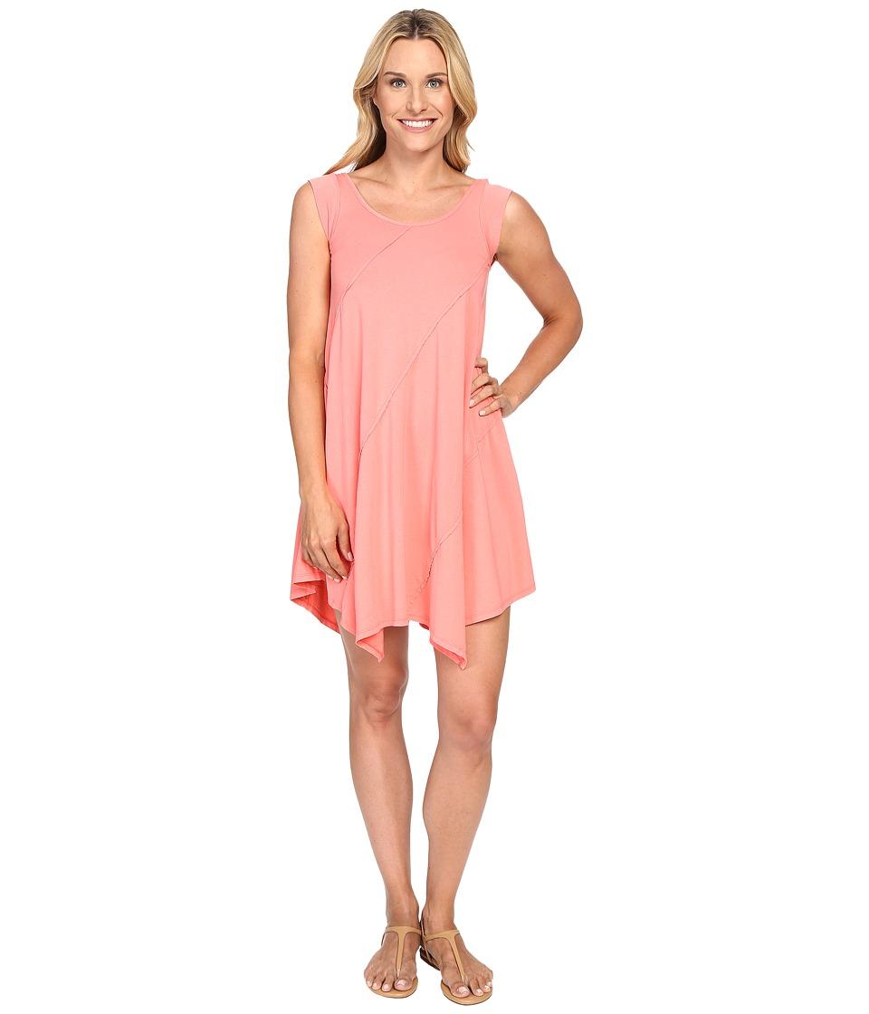 Mod-o-doc Cotton Modal Spandex Asymmetrical Seam Dress (Cali Coral) Women