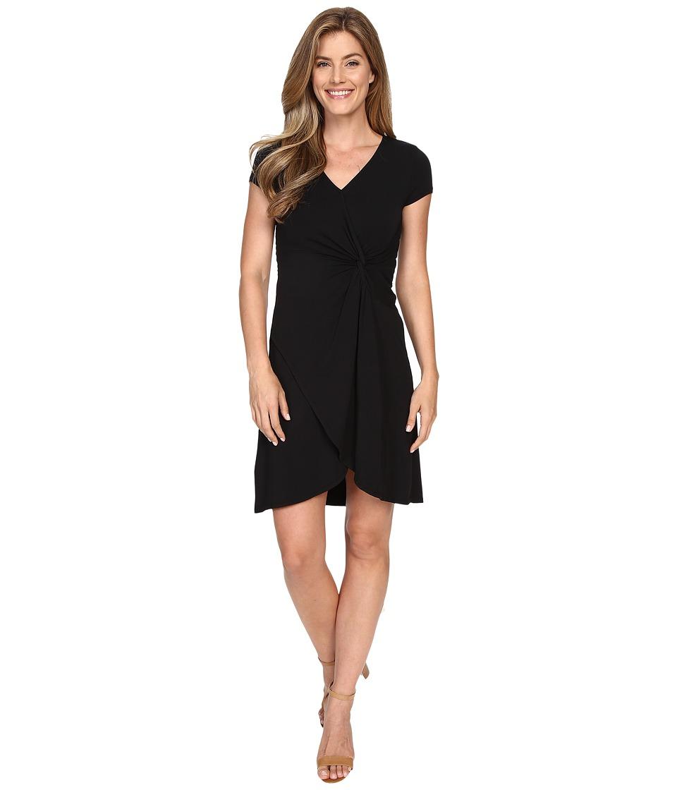 Mod-o-doc - Cotton Modal Spandex Faux Wrap Twist Front Dress (Black) Women's Dress