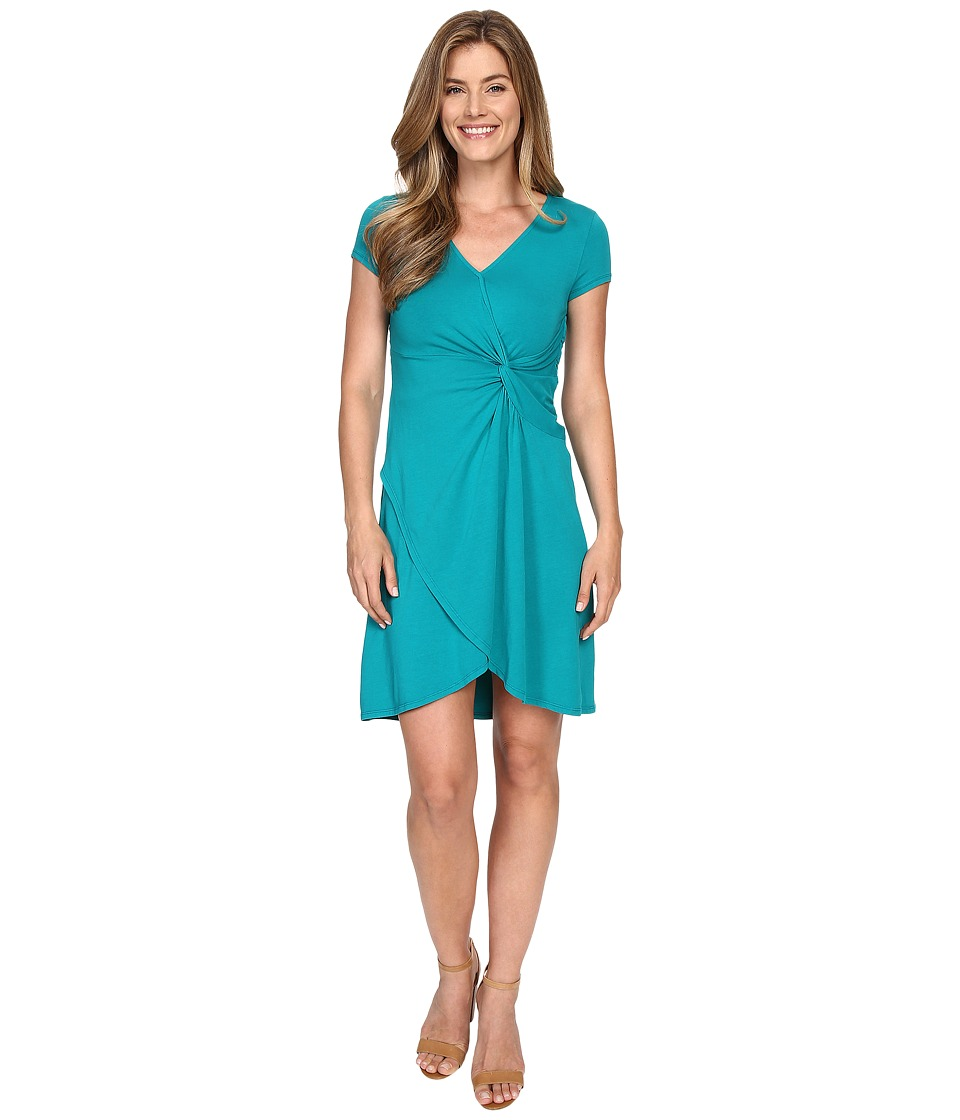 Mod-o-doc - Cotton Modal Spandex Faux Wrap Twist Front Dress (Dark Jade) Women's Dress