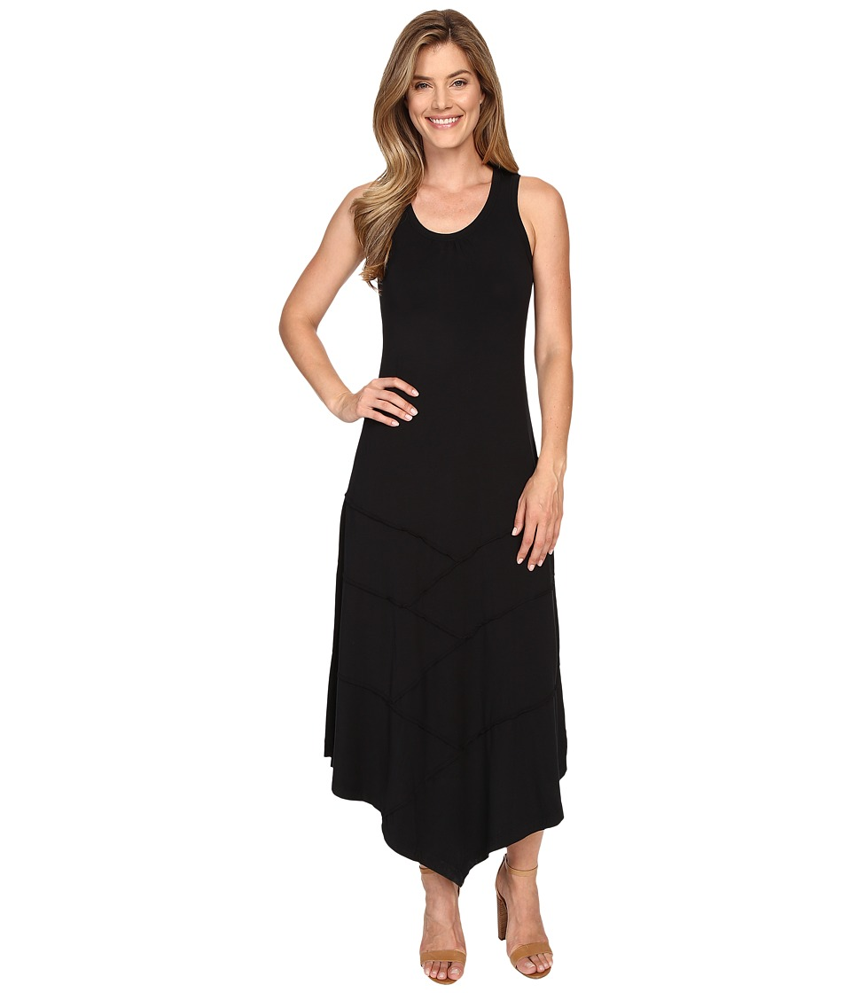 Mod-o-doc - Cotton Modal Spandex Seamed Hanky Hem Maxi Dress (Black) Women's Dress