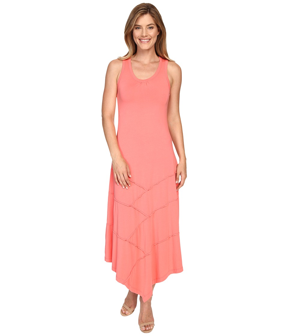 Mod-o-doc - Cotton Modal Spandex Seamed Hanky Hem Maxi Dress (Cali Coral) Women's Dress