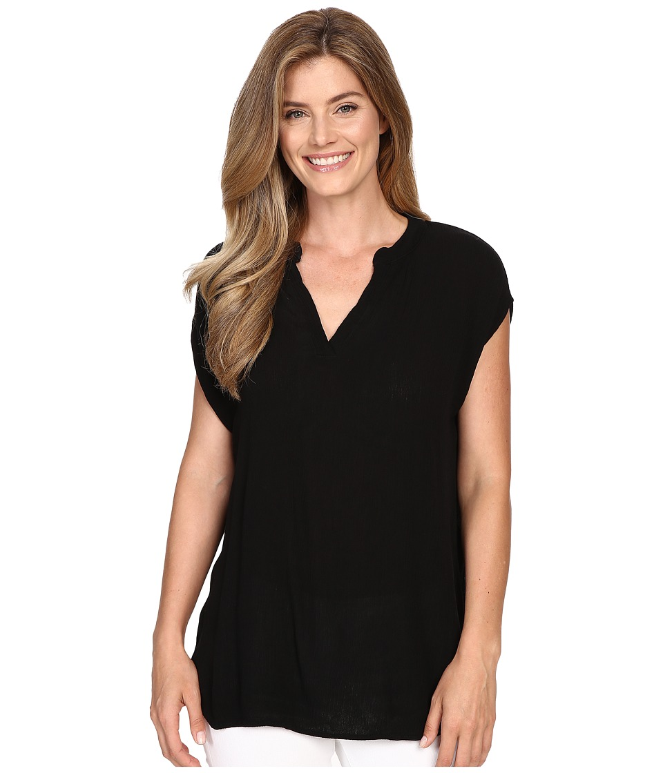 Allen Allen - Split Neck Top (Black) Women's Sleeveless