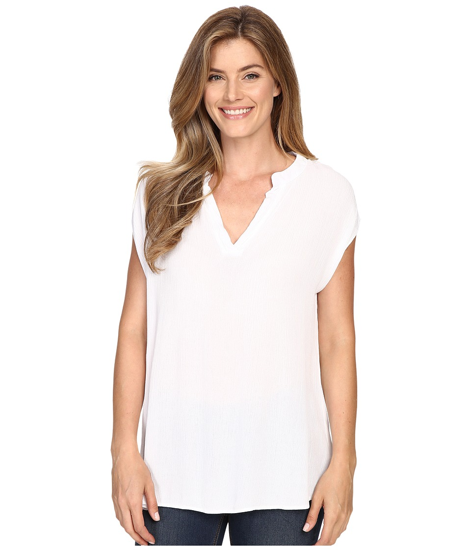 Allen Allen - Split Neck Top (White) Women's Sleeveless