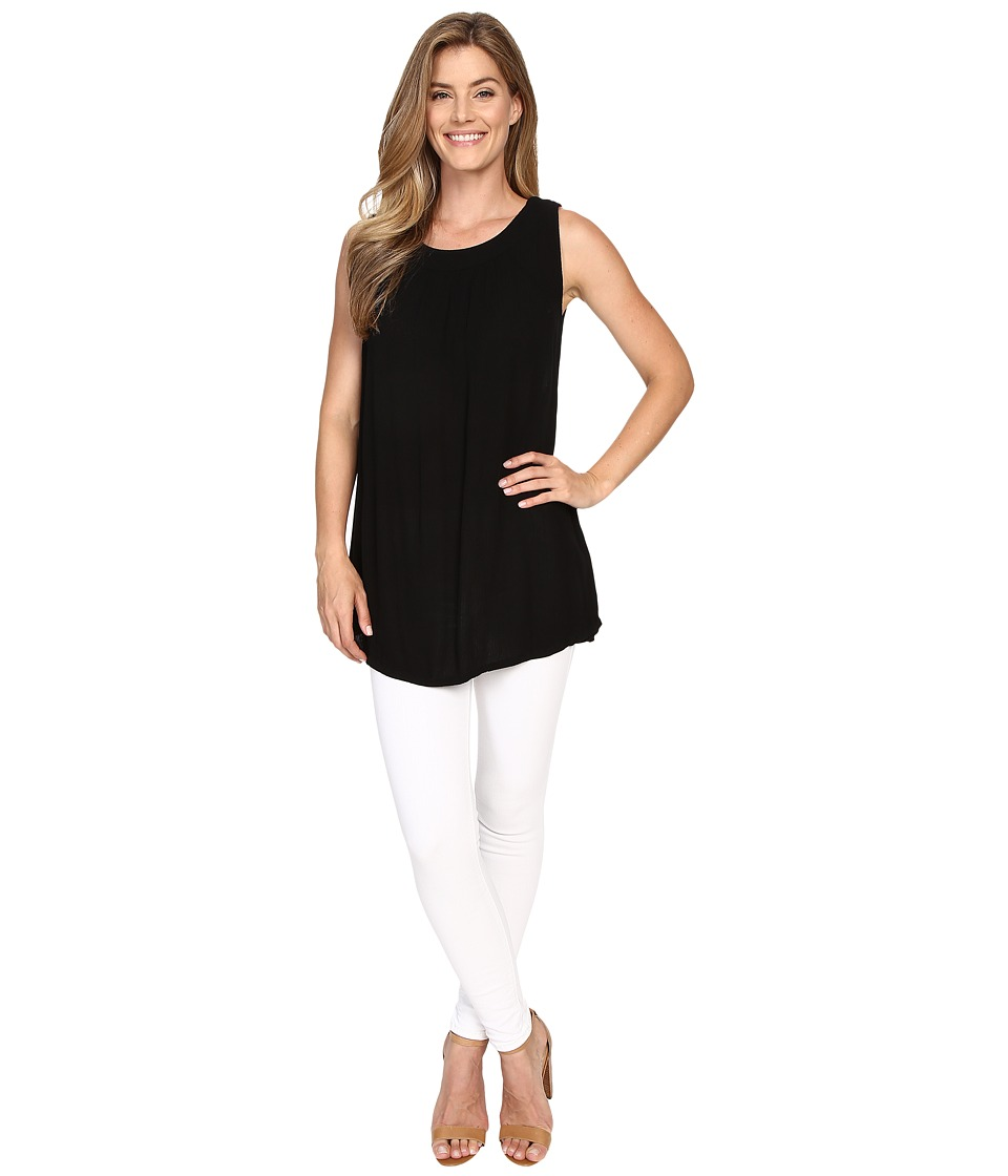 Allen Allen - Sleeveless Gathered Neck Tunic (Black) Women's Sleeveless