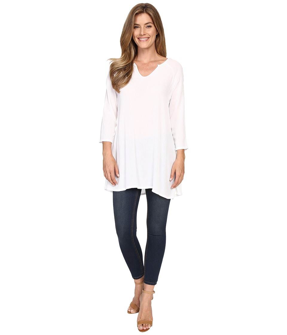 Allen Allen - 3/4 Sleeve Keyhole Tunic (White) Women's Clothing