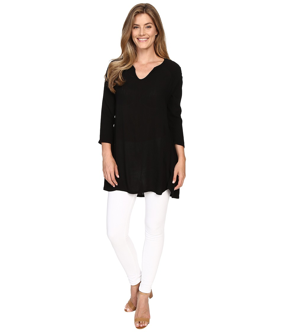 Allen Allen - 3/4 Sleeve Keyhole Tunic (Black) Women's Clothing