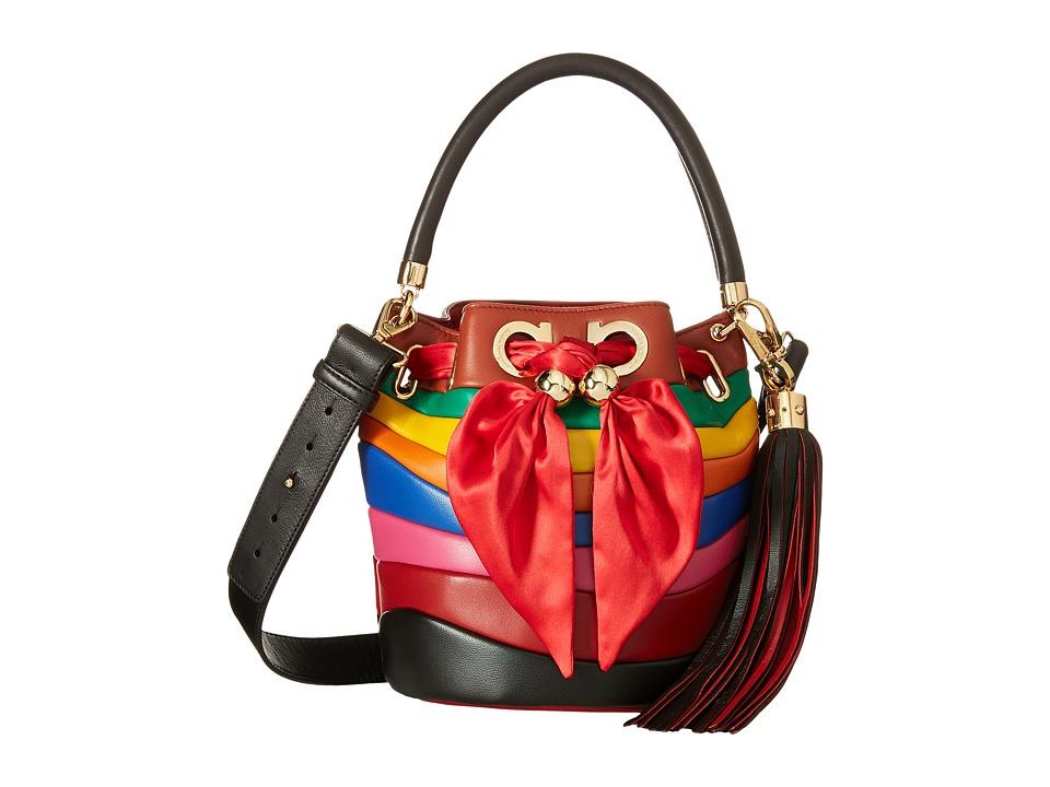 Salvatore Ferragamo - 21G075 Sara (Rosso/Nero/Emeraude) Handbags