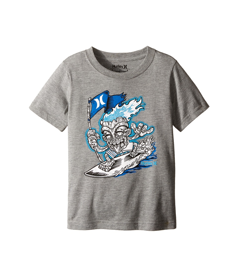 Hurley Kids - Surfin Tiki Short Sleeve Tee (Little Kids) (Dark Grey Heather) Boy's Short Sleeve Pullover