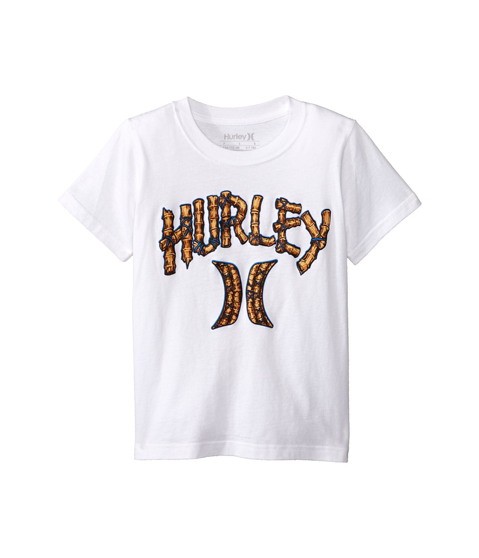 Hurley Kids - Bamboo Short Sleeve Tee (Little Kids) (White) Boy's Short Sleeve Pullover