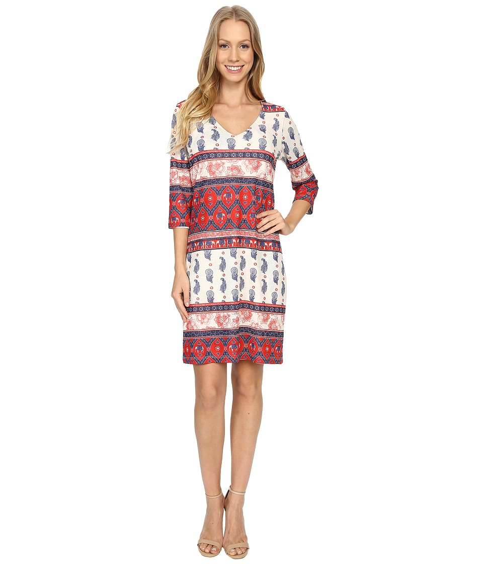 Nally & Millie - Printed V-Neck Reversible Dress (Multi) Women's Dress