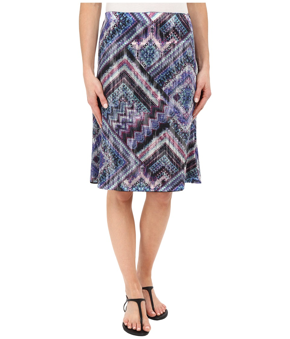 Nally & Millie - Scarf Print Reversible Burnout Skirt (Multi) Women's Skirt