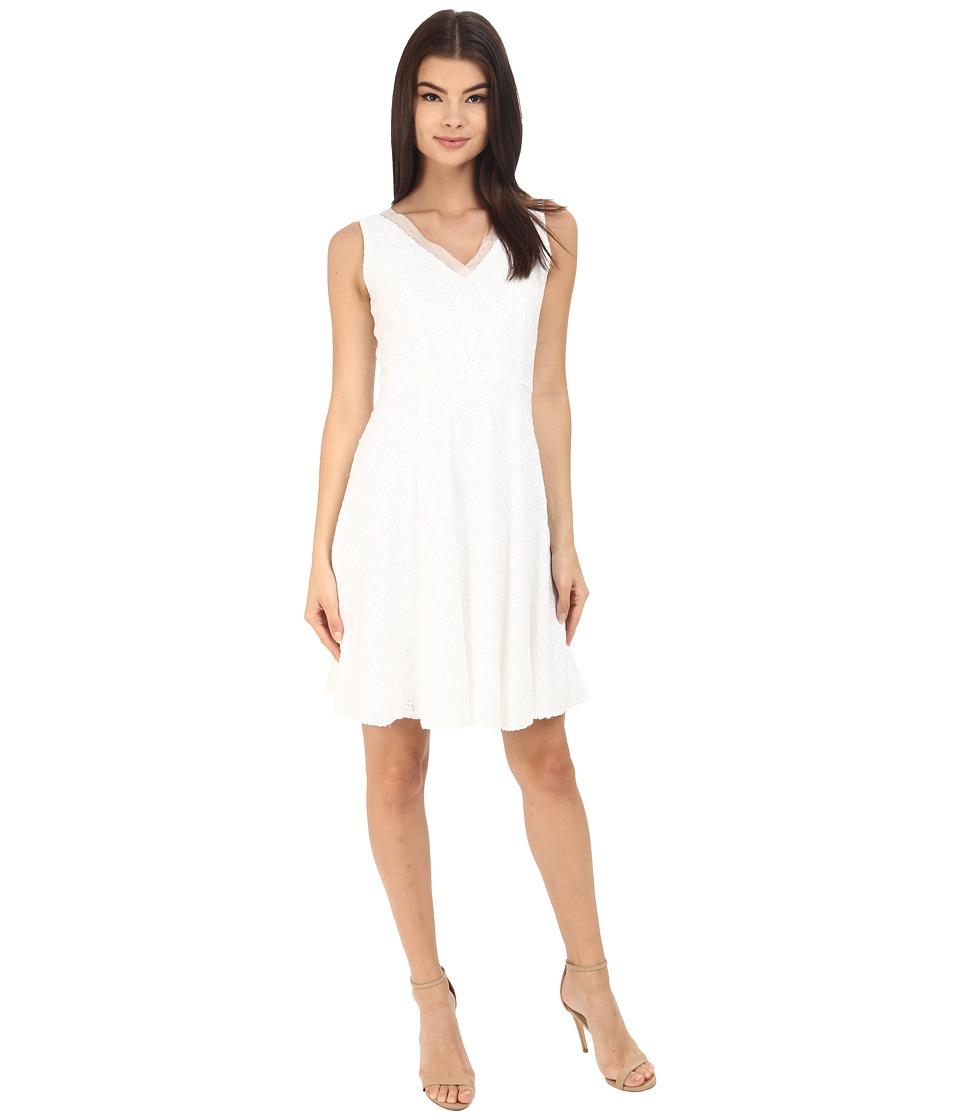Calvin Klein - Fit Flair Sequin Dress CD6B1V1D (White) Women's Dress