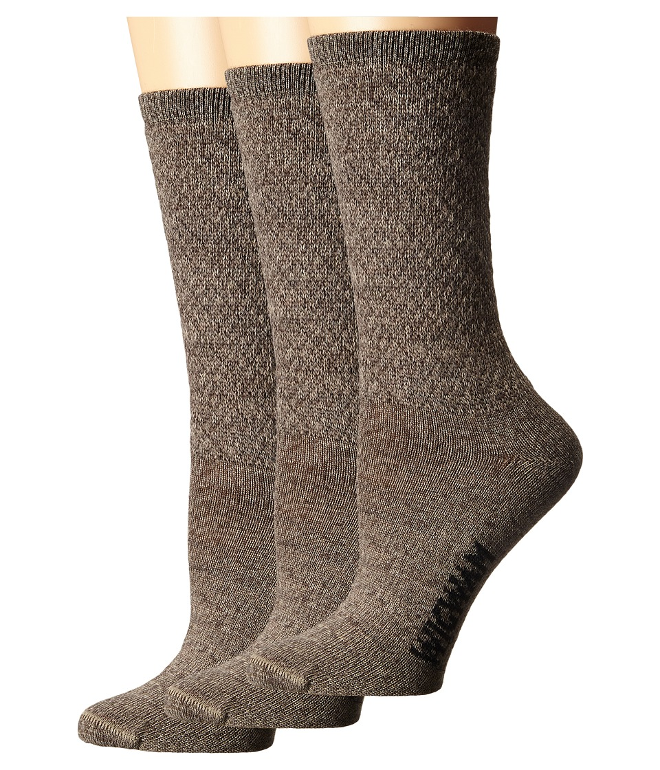 Wigwam - Silky Crew 3-Pack (Brown/Khaki) Women's Crew Cut Socks Shoes