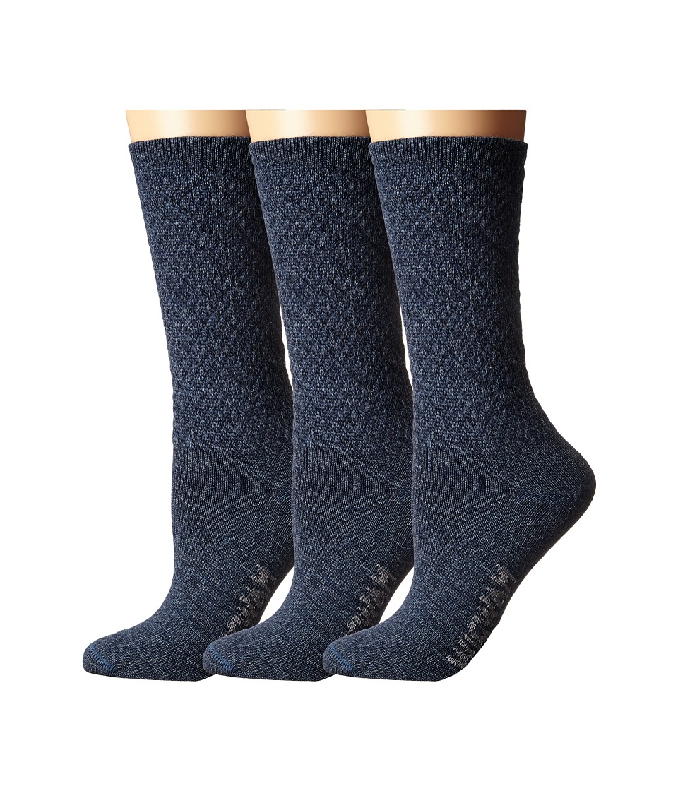 Wigwam - Silky Crew 3-Pack (Navy/Blue) Women's Crew Cut Socks Shoes