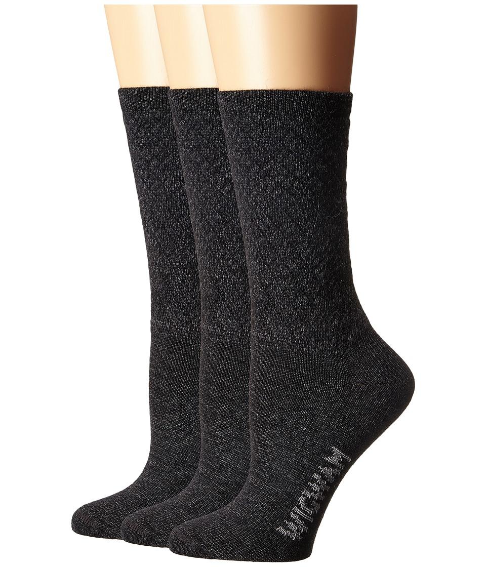 Wigwam - Silky Crew 3-Pack (Black/Charcoal) Women's Crew Cut Socks Shoes