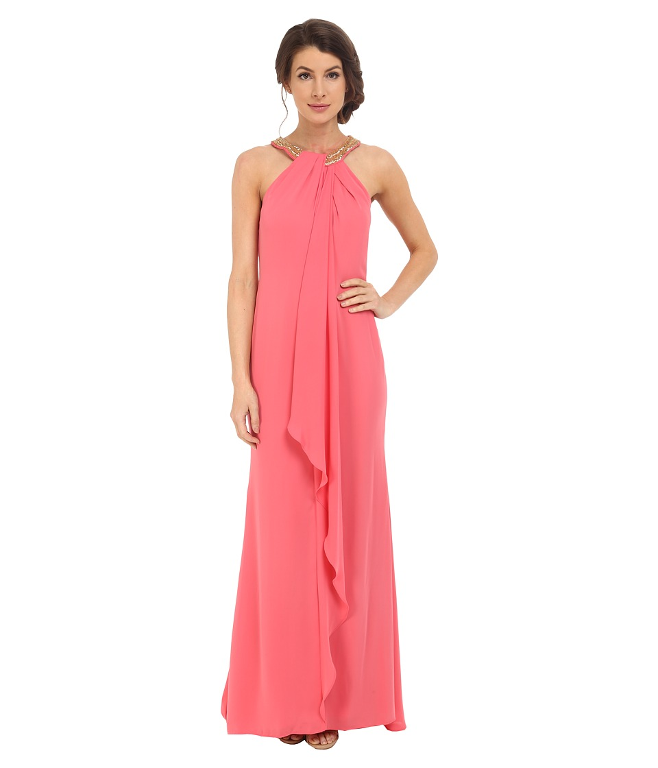 Calvin Klein Halter Neck Drapped Front Dress CD6B2P8W (Coral) Women