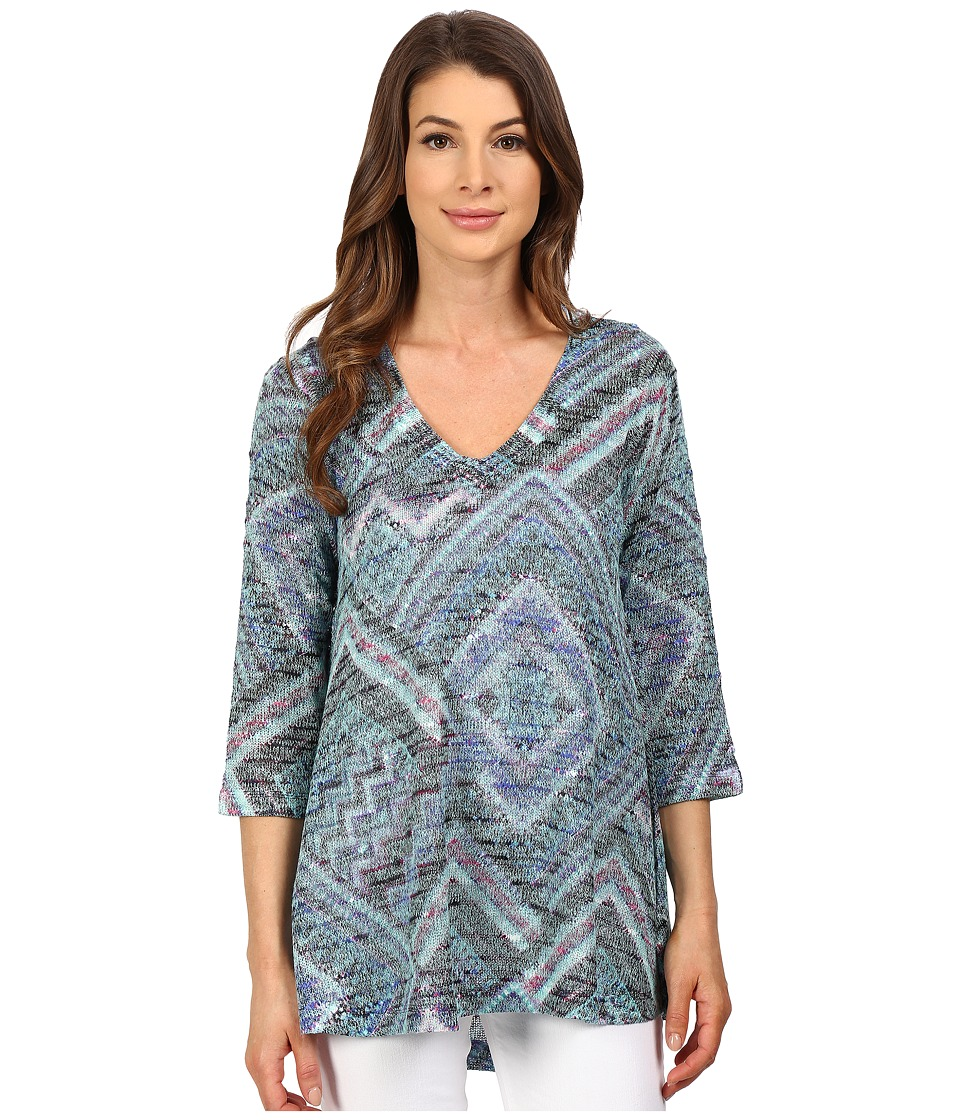 Nally & Millie - Scarf Print V-Neck Tunic (Multi) Women's Blouse
