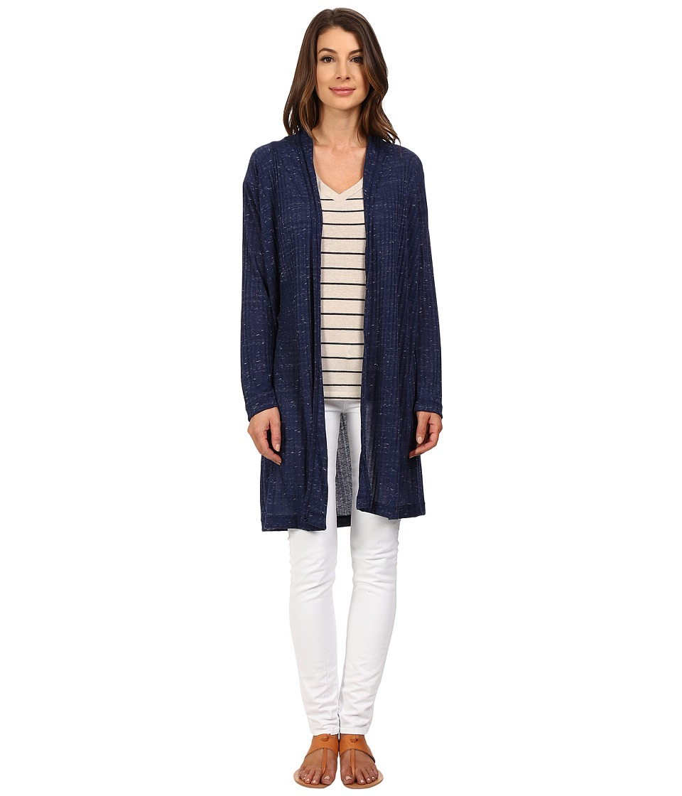 Nally & Millie - Long Sleeve Midi Cardigan with Pleated Back (Navy) Women's Sweater