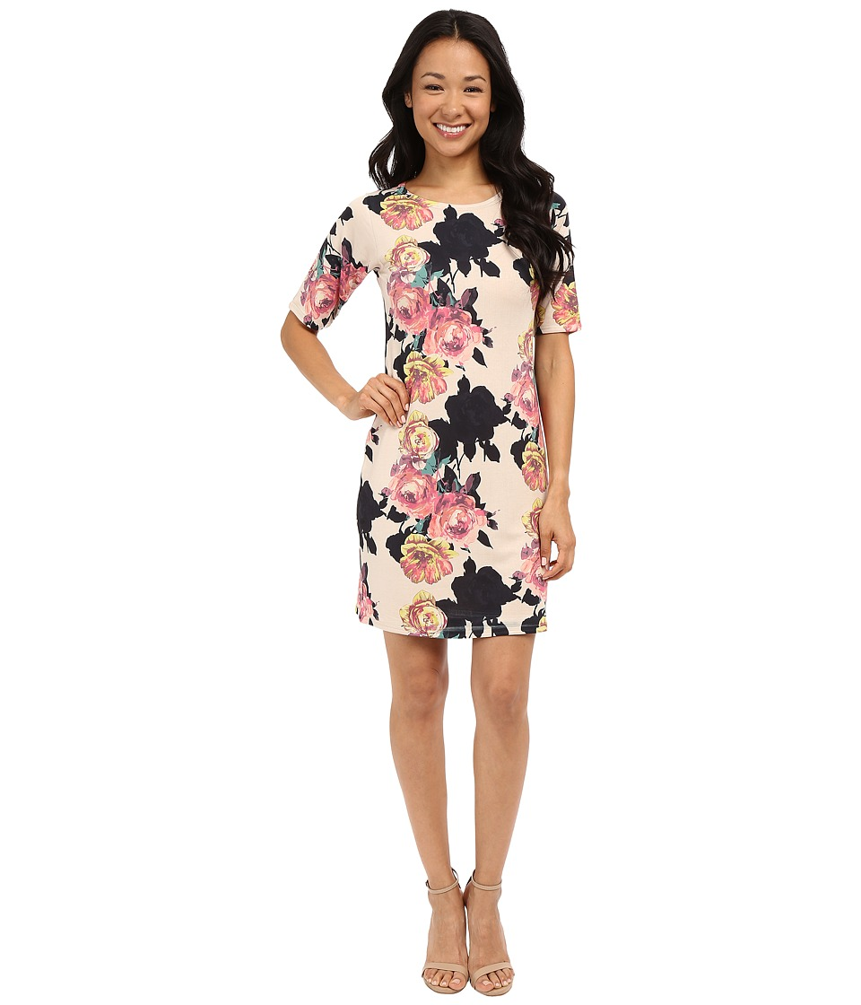 Nally & Millie - Elbow Sleeve Floral Dress (Multi) Women's Dress