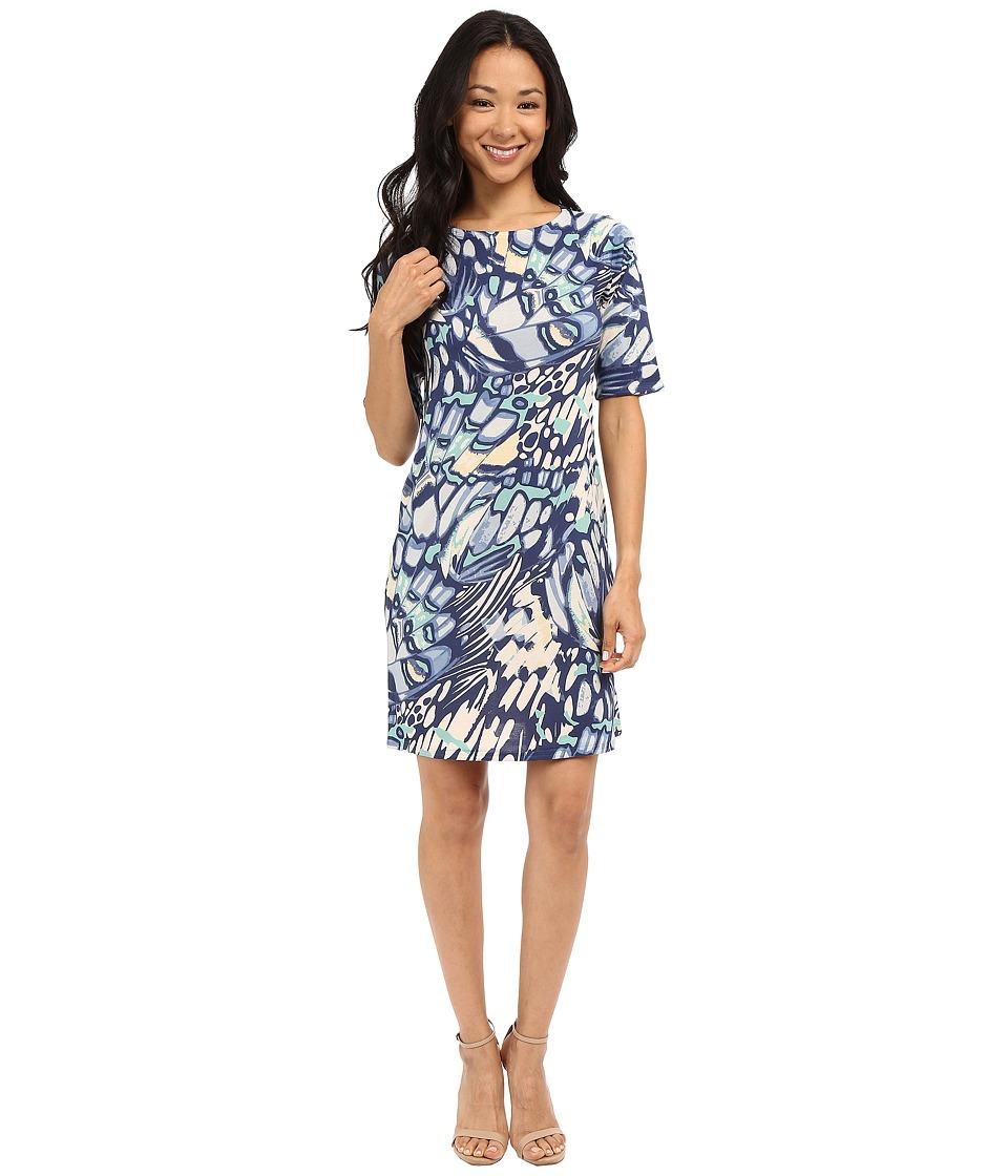 Nally & Millie - Elbow Sleeve Butterfly Dress (Multi) Women's Dress
