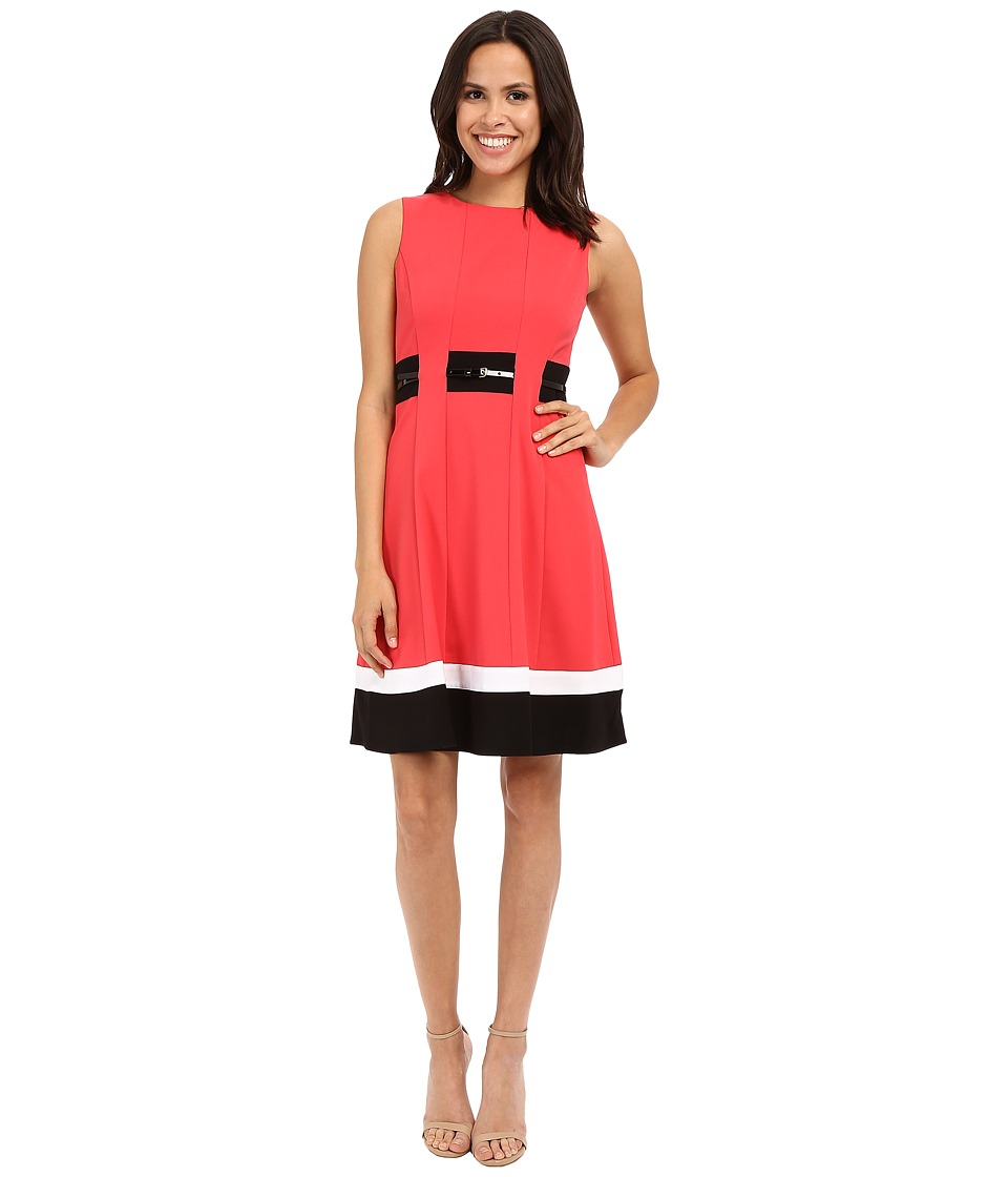 Calvin Klein - Color Block Fit Flare Dress CD6X1371 (Watermelon Multi) Women's Dress