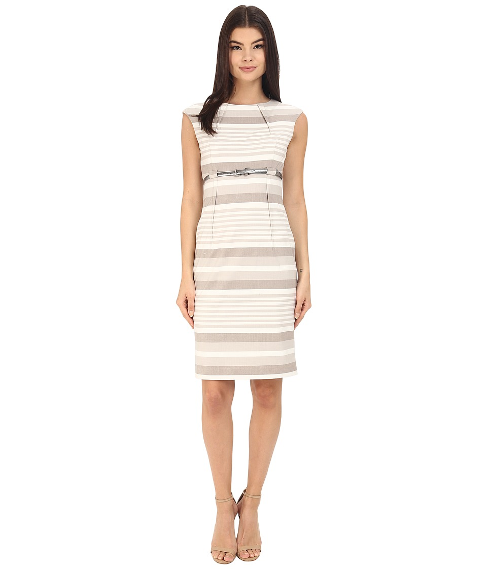 Calvin Klein - Stripe Empire Waist Sheath CD6XGBD6 (Khaki/White) Women's Dress
