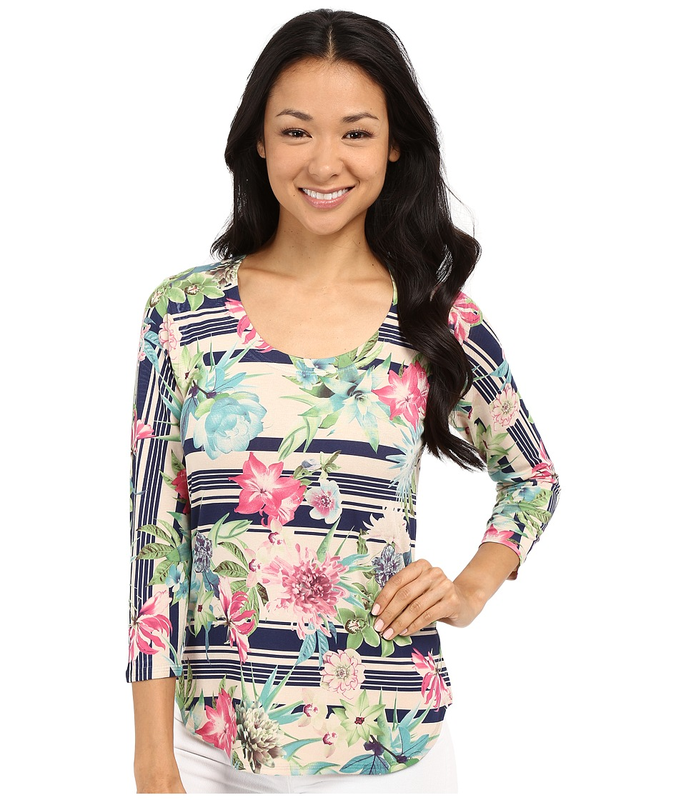 Nally & Millie - 3/4 Sleeve Floral Border Top (Multi) Women's Blouse