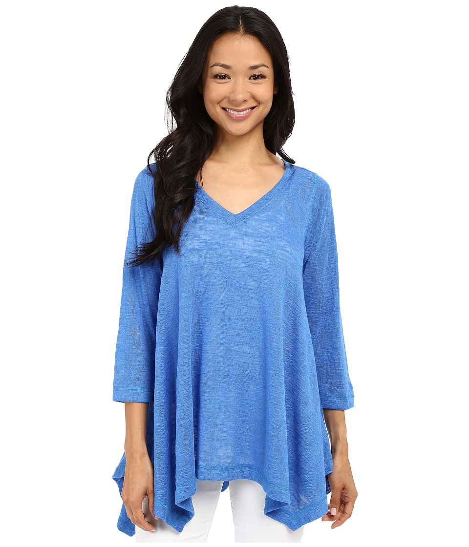 Nally & Millie - V-Neck Sharkbite Tunic (Blue) Women's Blouse