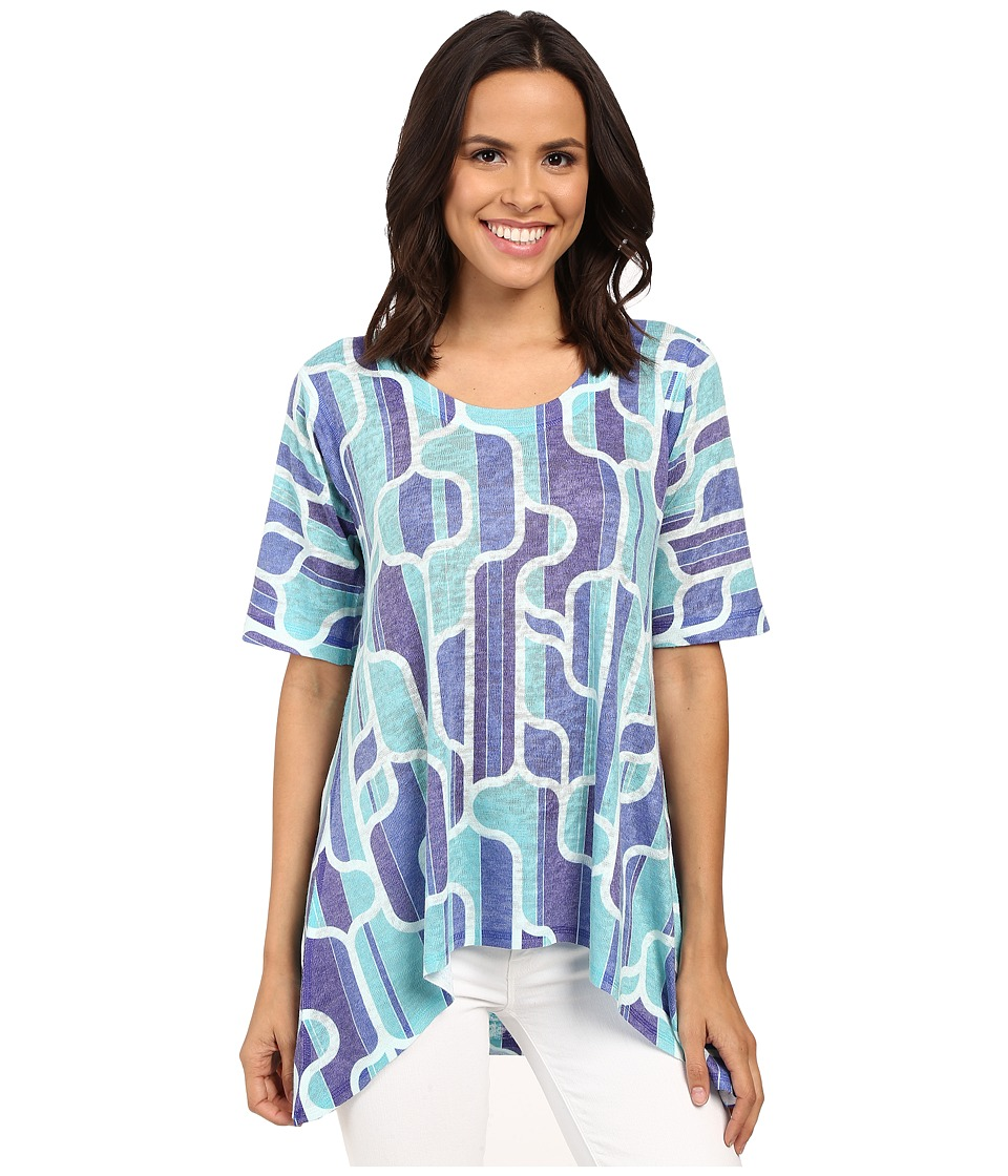 Nally & Millie - Retro Print Tunic (Turquoise) Women's Blouse