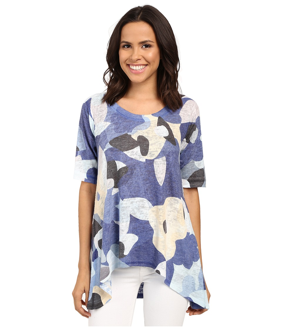 Nally & Millie - Floral High-Low Tunic (Blue) Women's Blouse