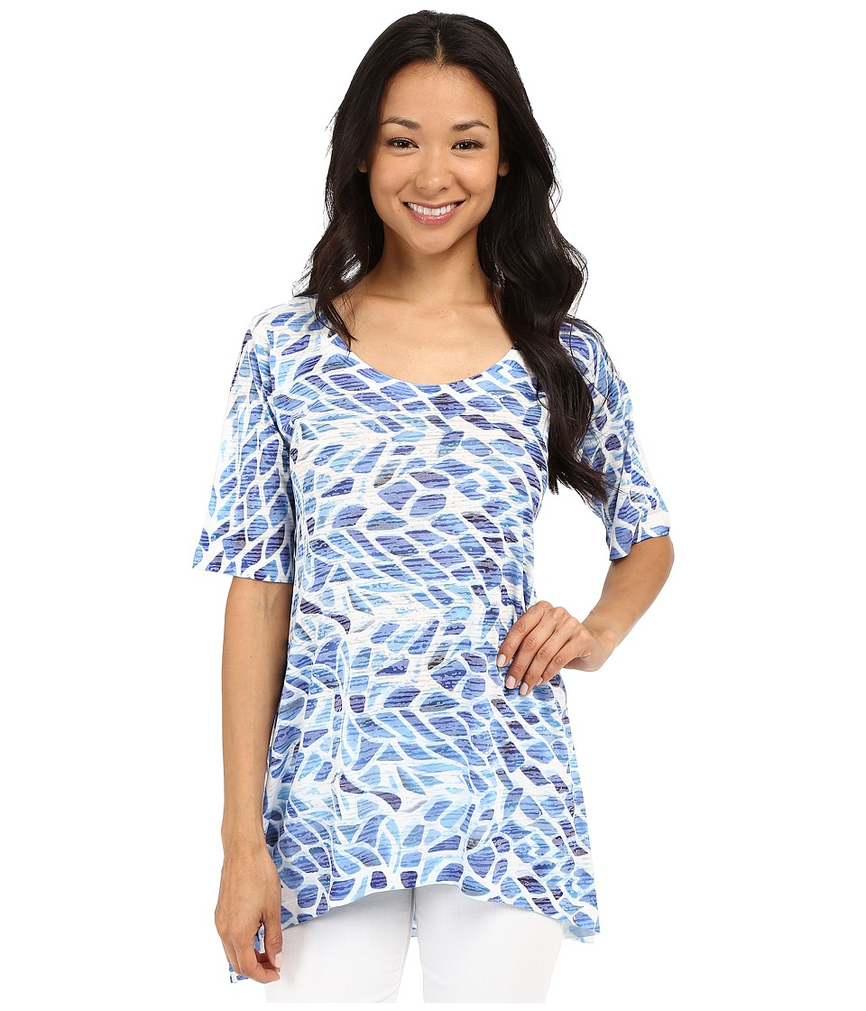 Nally & Millie - Leaf Print Tunic (Blue) Women's Blouse
