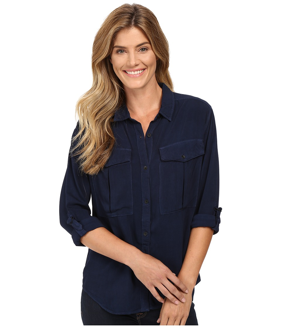 Calvin Klein Jeans - Garment Dye Utility D-Ring Tab Long Sleeve Shirt (Deep Denim) Women's Long Sleeve Button Up