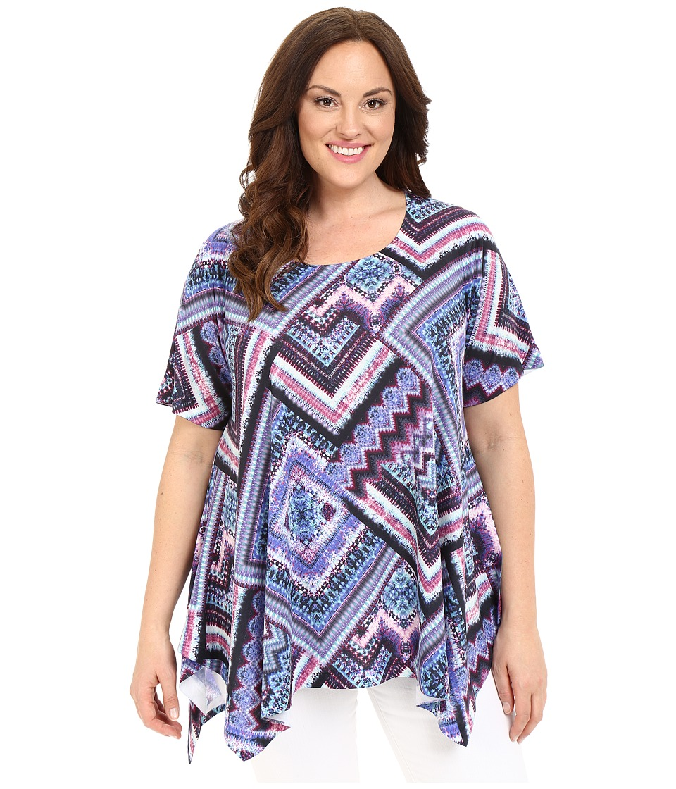 Nally & Millie - Plus Size Scarf Print Tunic (Multi) Women's Blouse plus size,  plus size fashion plus size appare